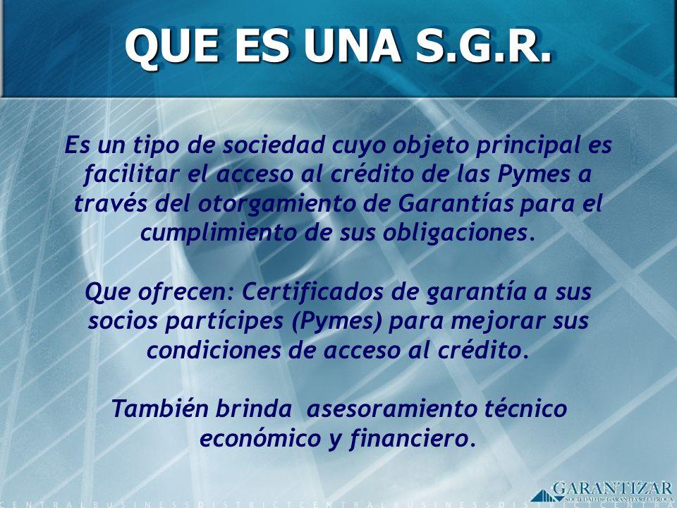 También brinda asesoramiento técnico económico y financiero.