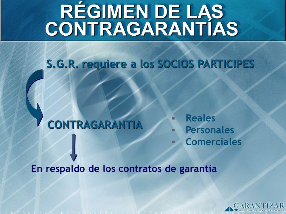 RÉGIMEN DE LAS CONTRAGARANTÍAS