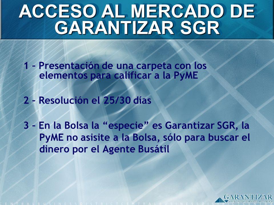ACCESO AL MERCADO DE GARANTIZAR SGR