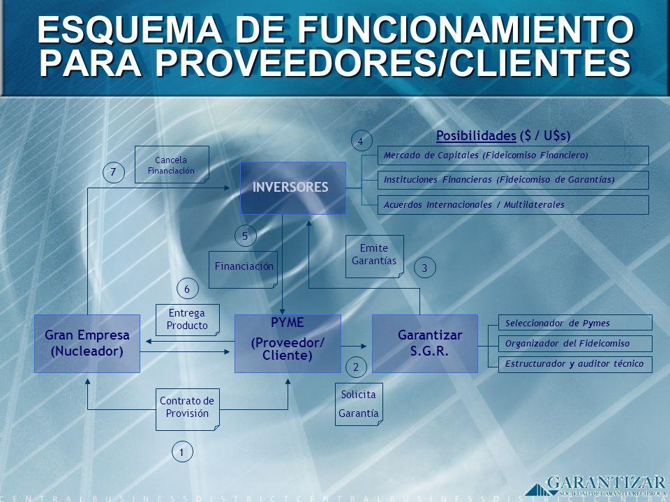 ESQUEMA DE FUNCIONAMIENTO PARA PROVEEDORES/CLIENTES