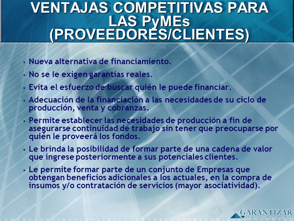 VENTAJAS COMPETITIVAS PARA LAS PyMEs (PROVEEDORES/CLIENTES)
