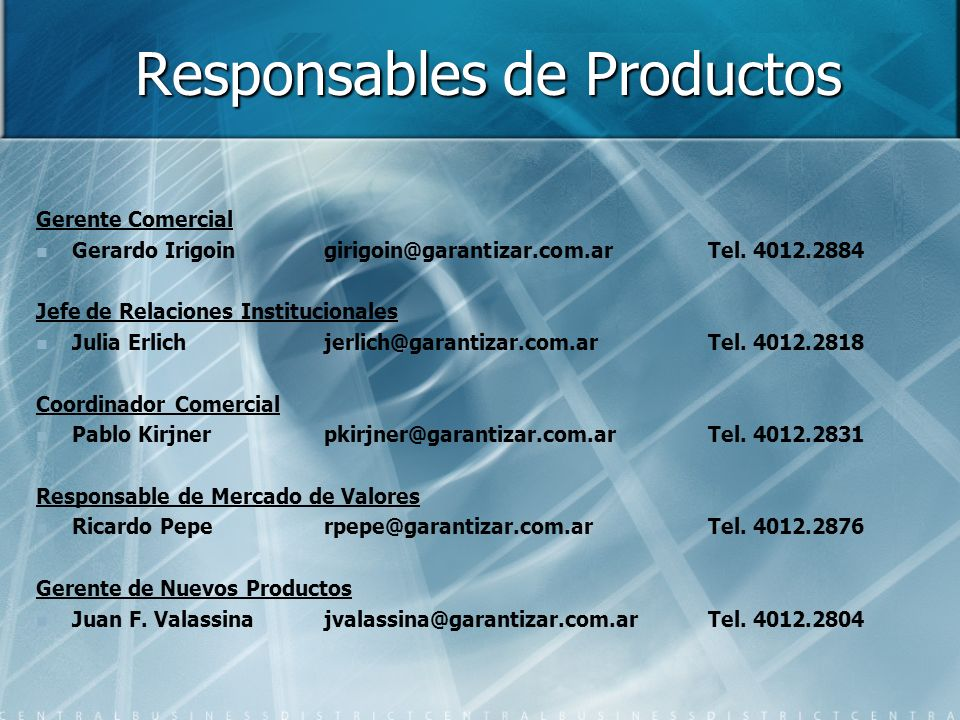 Responsables de Productos