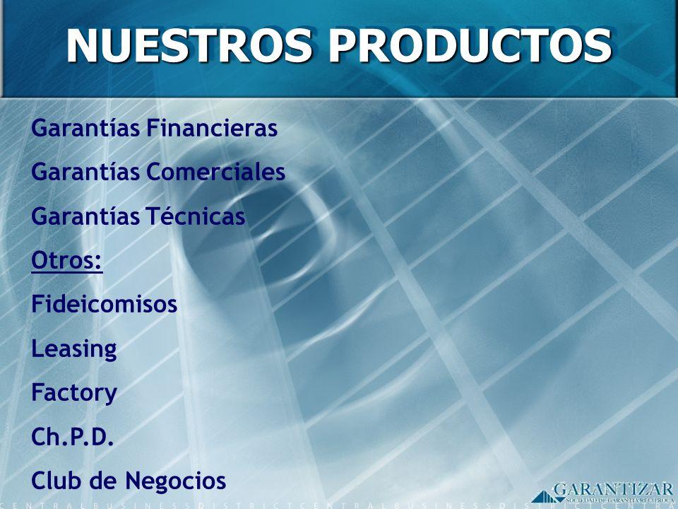 NUESTROS PRODUCTOS Garantías Financieras Garantías Comerciales