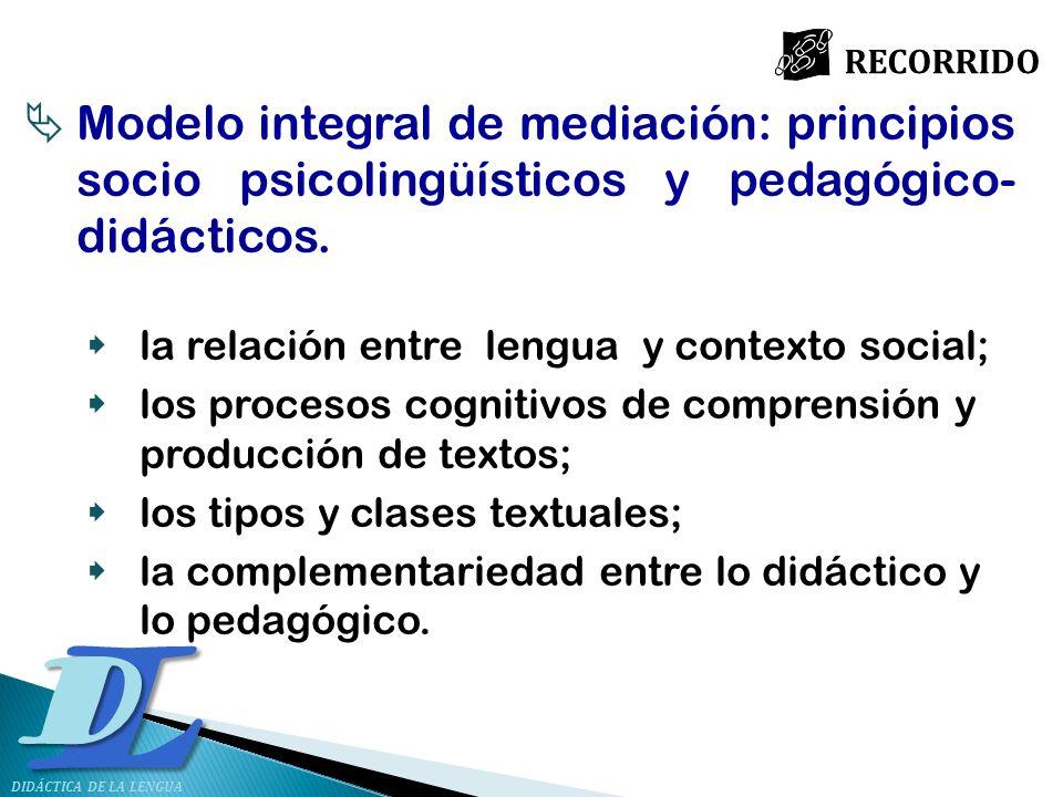 RECORRIDO Modelo integral de mediación: principios socio psicolingüísticos y pedagógico-didácticos.