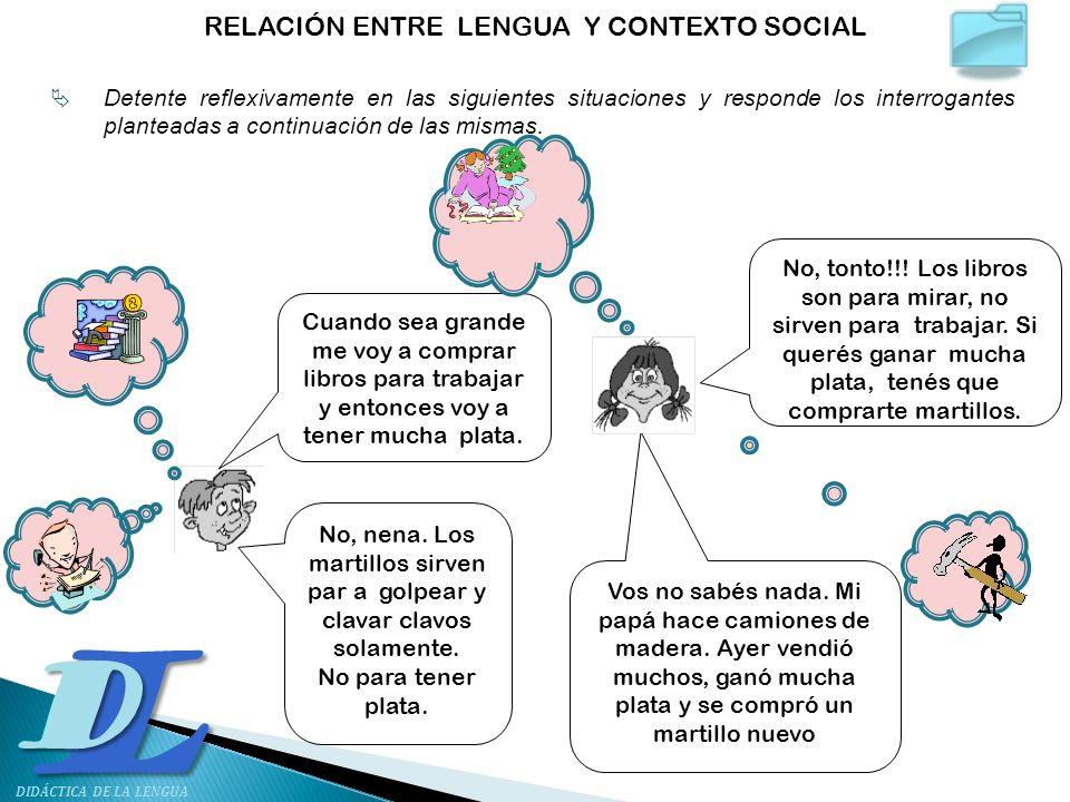 RELACIÓN ENTRE LENGUA Y CONTEXTO SOCIAL