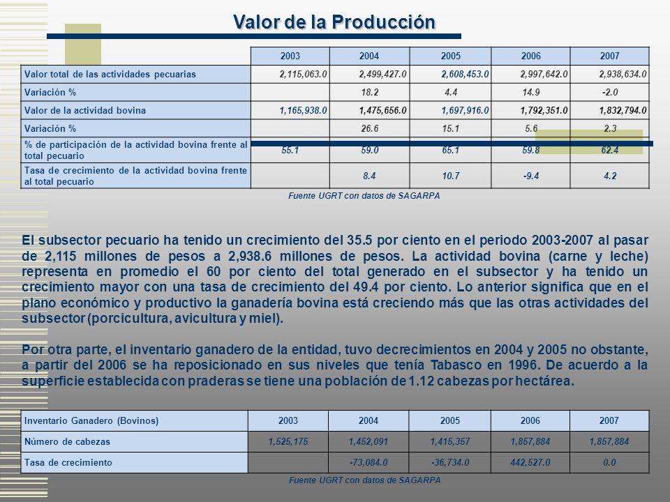 Valor de la Producción 2003. 2004. 2005. 2006. 2007. Valor total de las actividades pecuarias.