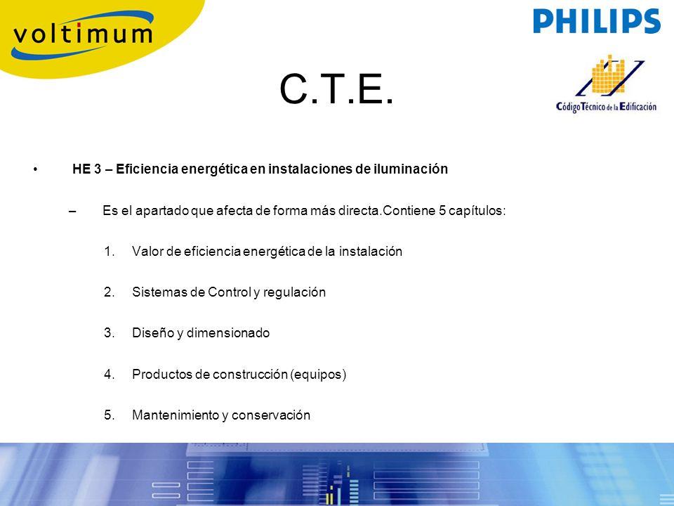 C.T.E. HE 3 – Eficiencia energética en instalaciones de iluminación
