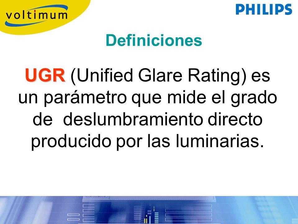 Definiciones UGR (Unified Glare Rating) es un parámetro que mide el grado de deslumbramiento directo producido por las luminarias.