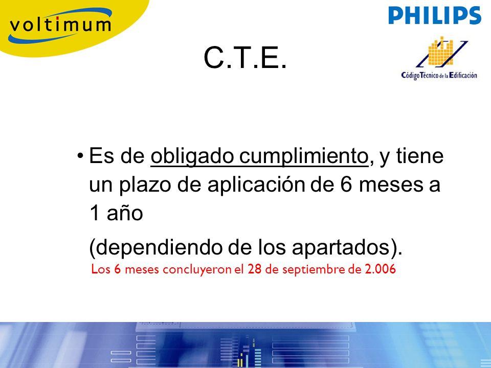 C.T.E. Es de obligado cumplimiento, y tiene un plazo de aplicación de 6 meses a 1 año. (dependiendo de los apartados).