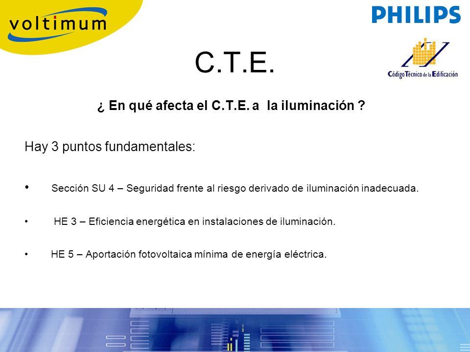 ¿ En qué afecta el C.T.E. a la iluminación