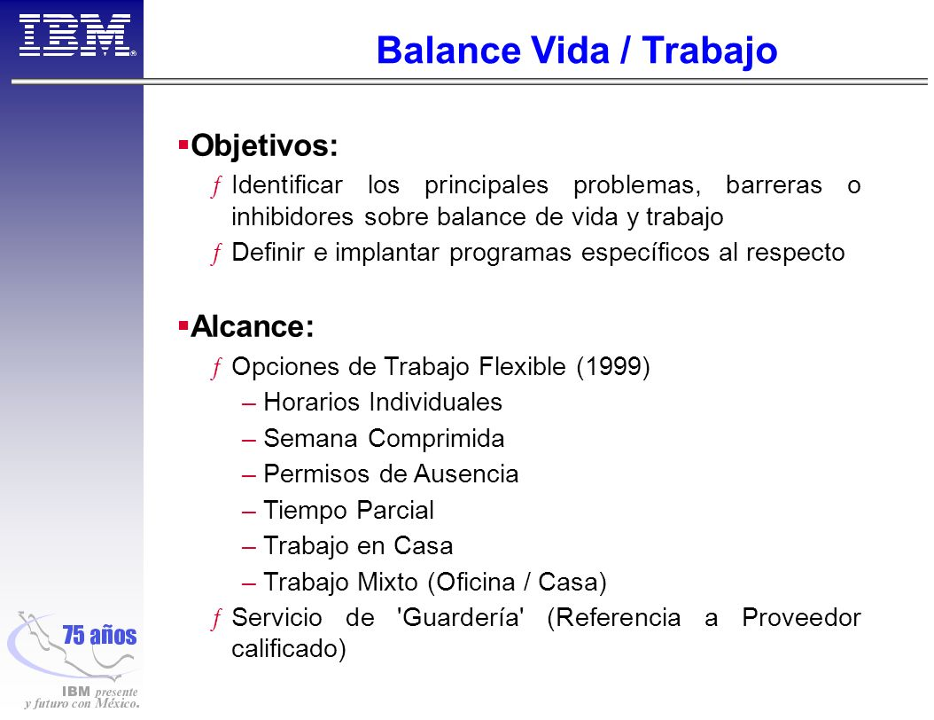 Balance Vida / Trabajo Objetivos: Alcance: