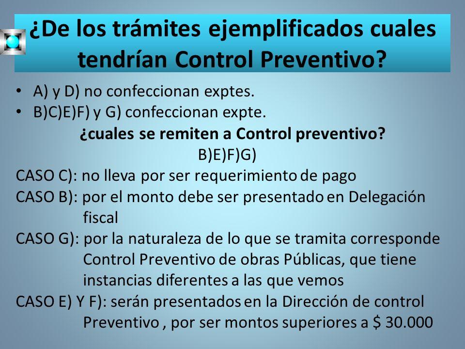 ¿De los trámites ejemplificados cuales tendrían Control Preventivo