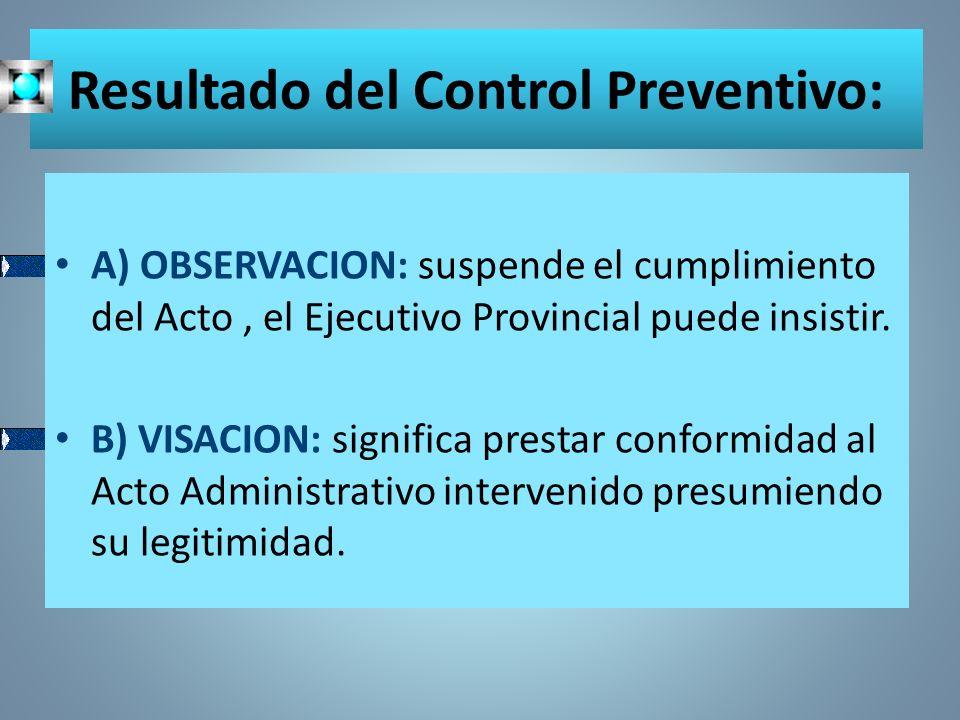 Resultado del Control Preventivo: