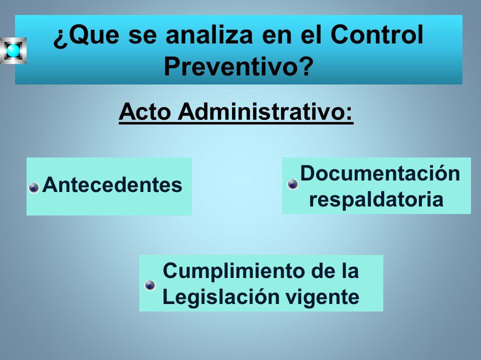 ¿Que se analiza en el Control Preventivo