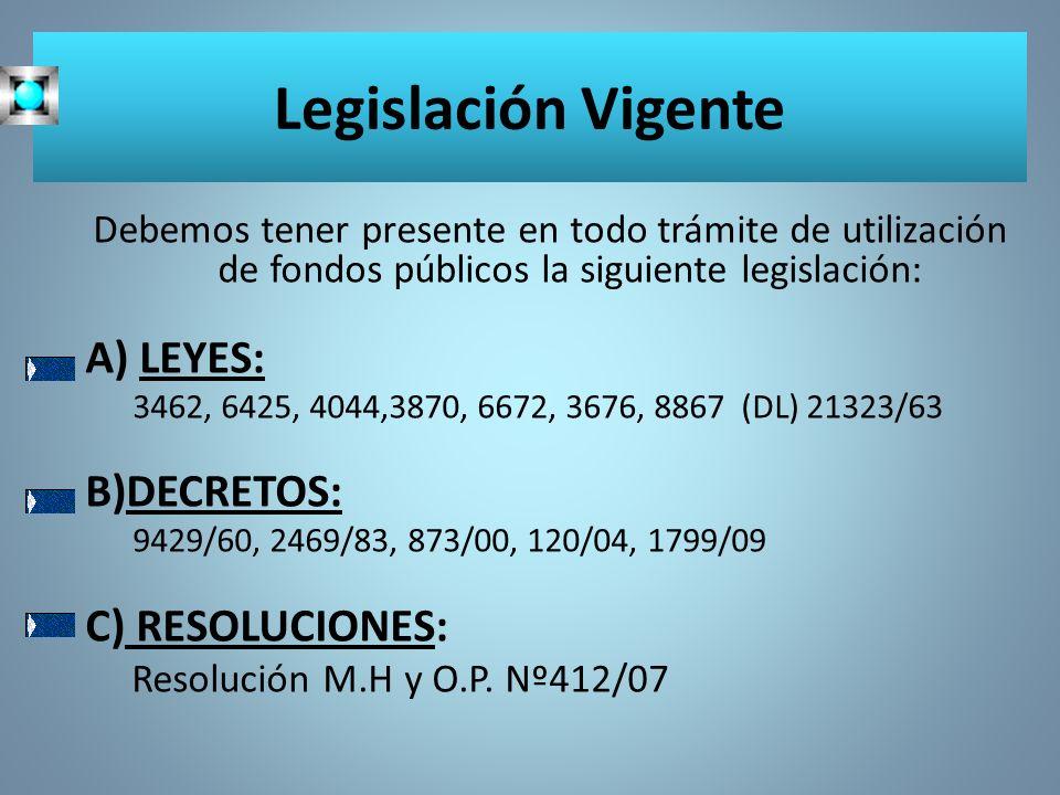 Legislación Vigente A) LEYES: B)DECRETOS: C) RESOLUCIONES: