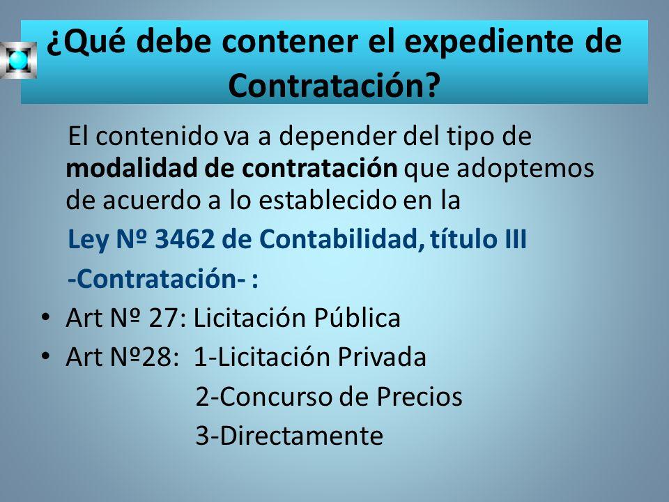 ¿Qué debe contener el expediente de Contratación