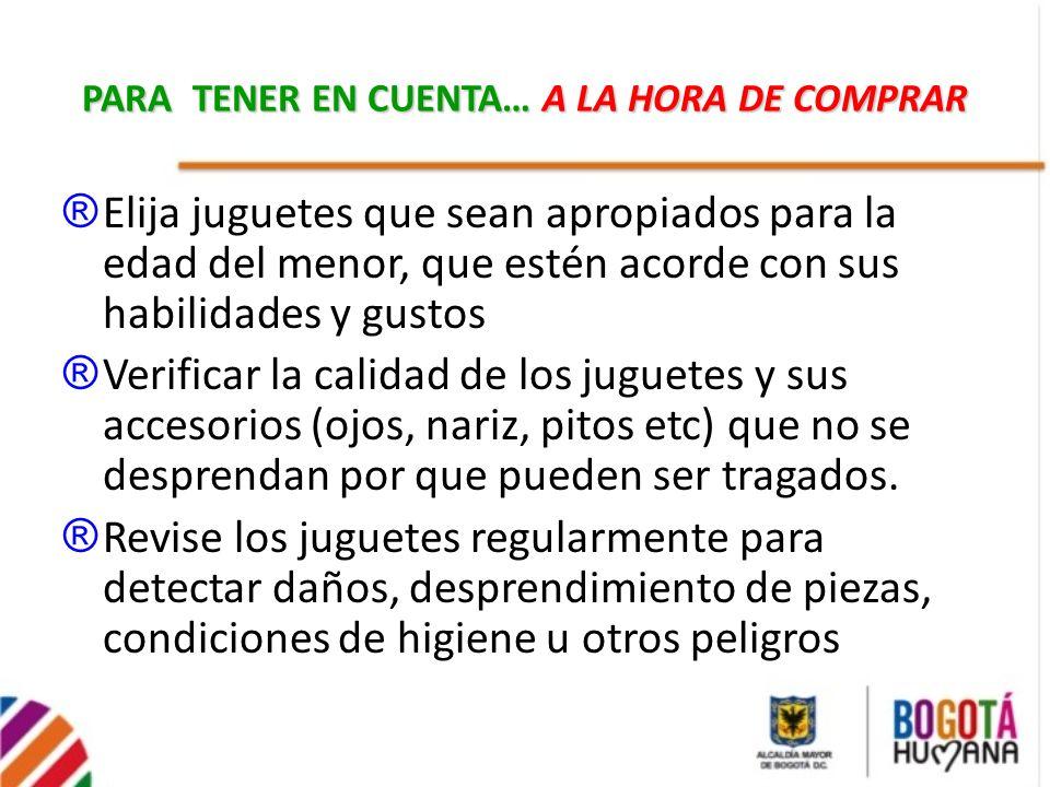 PARA TENER EN CUENTA… A LA HORA DE COMPRAR
