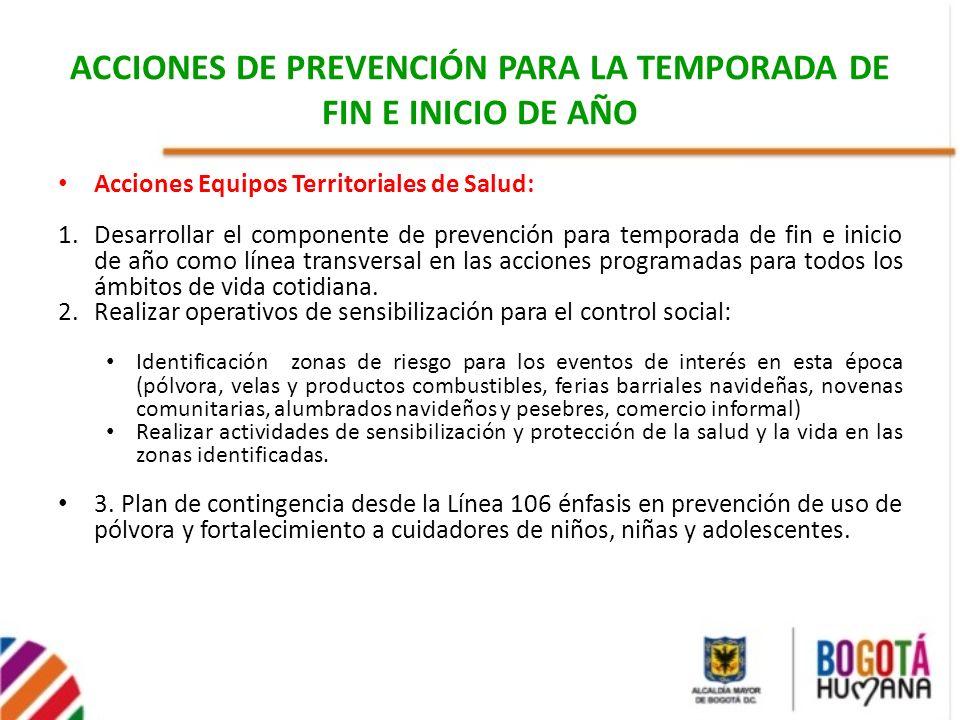 ACCIONES DE PREVENCIÓN PARA LA TEMPORADA DE FIN E INICIO DE AÑO