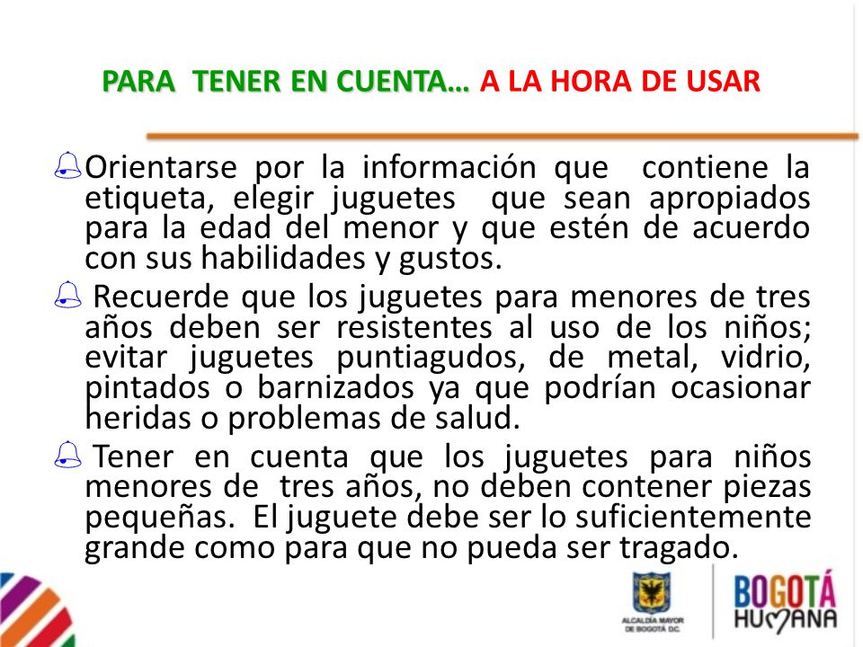 PARA TENER EN CUENTA… A LA HORA DE USAR