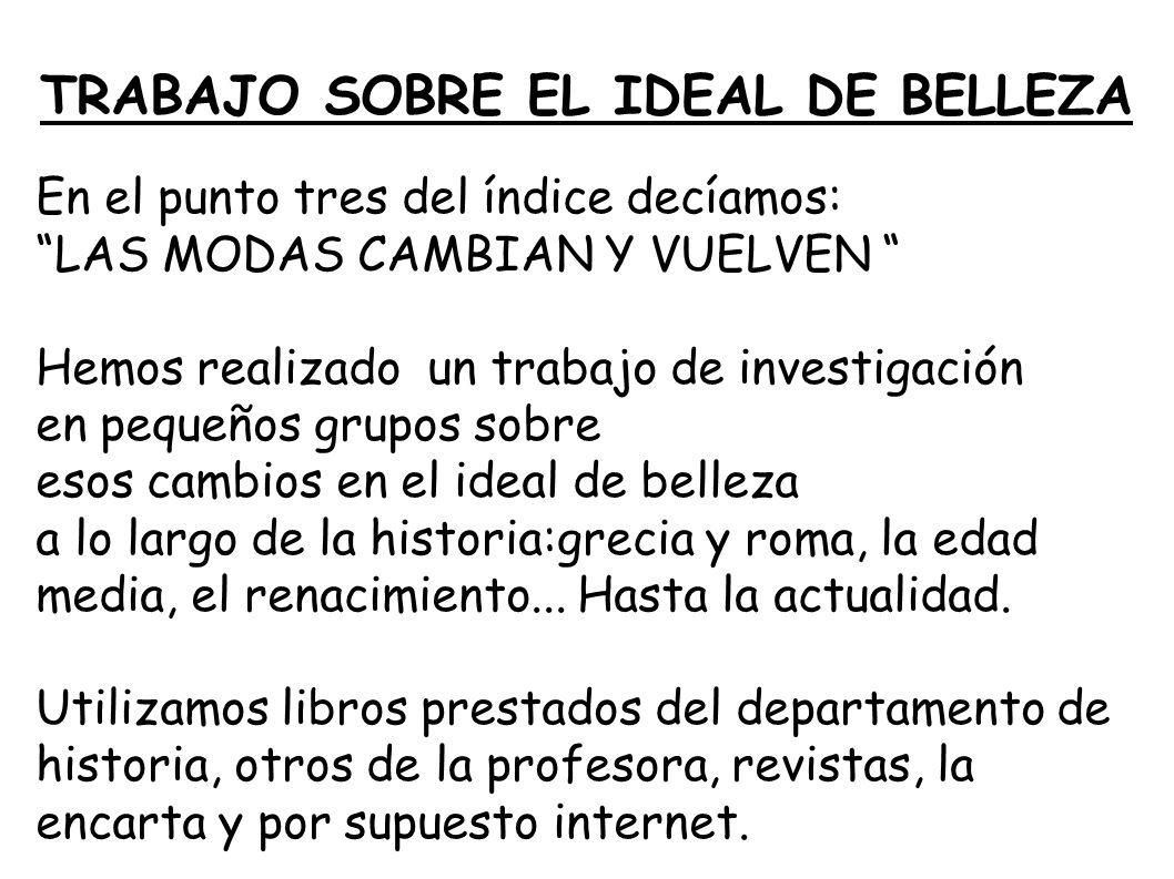 TRABAJO SOBRE EL IDEAL DE BELLEZA