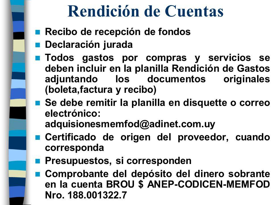 Rendición de Cuentas Recibo de recepción de fondos Declaración jurada