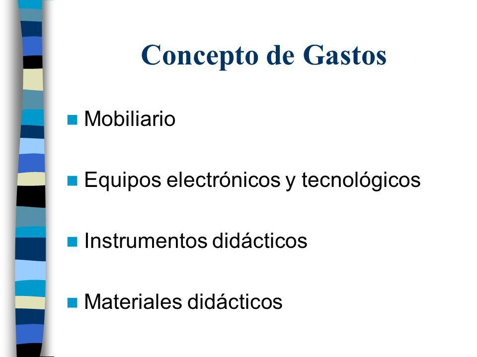 Concepto de Gastos Mobiliario Equipos electrónicos y tecnológicos