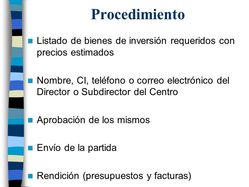 Procedimiento Listado de bienes de inversión requeridos con precios estimados.