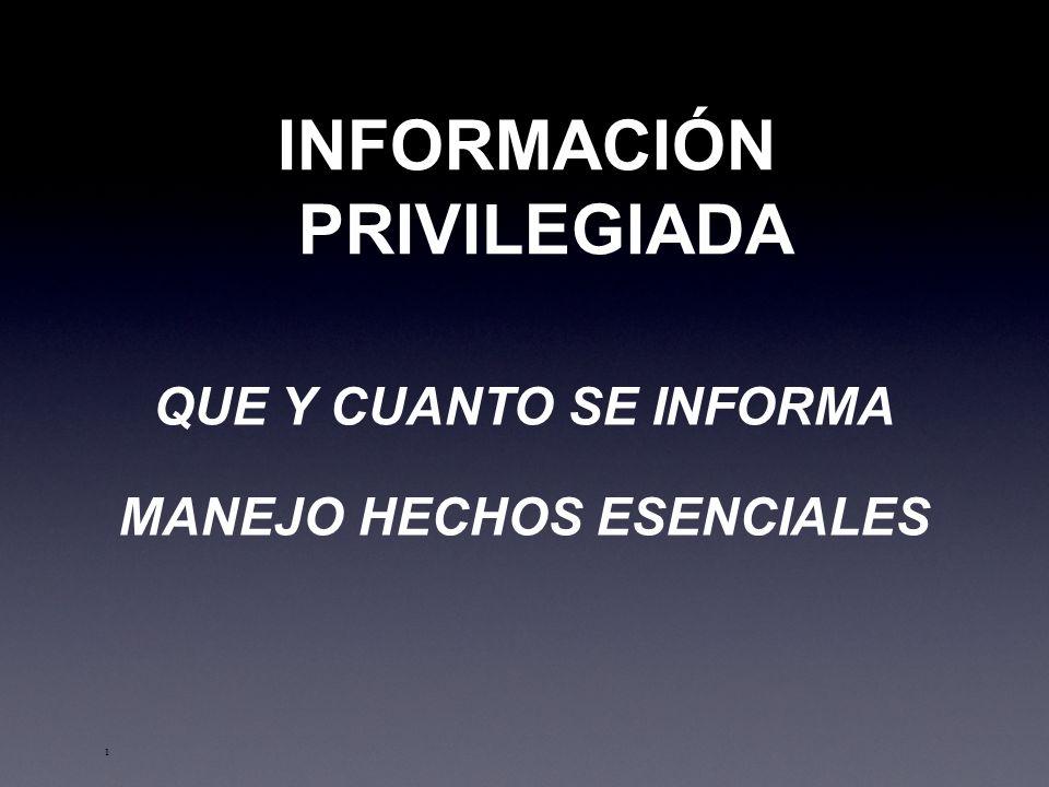 INFORMACIÓN PRIVILEGIADA MANEJO HECHOS ESENCIALES