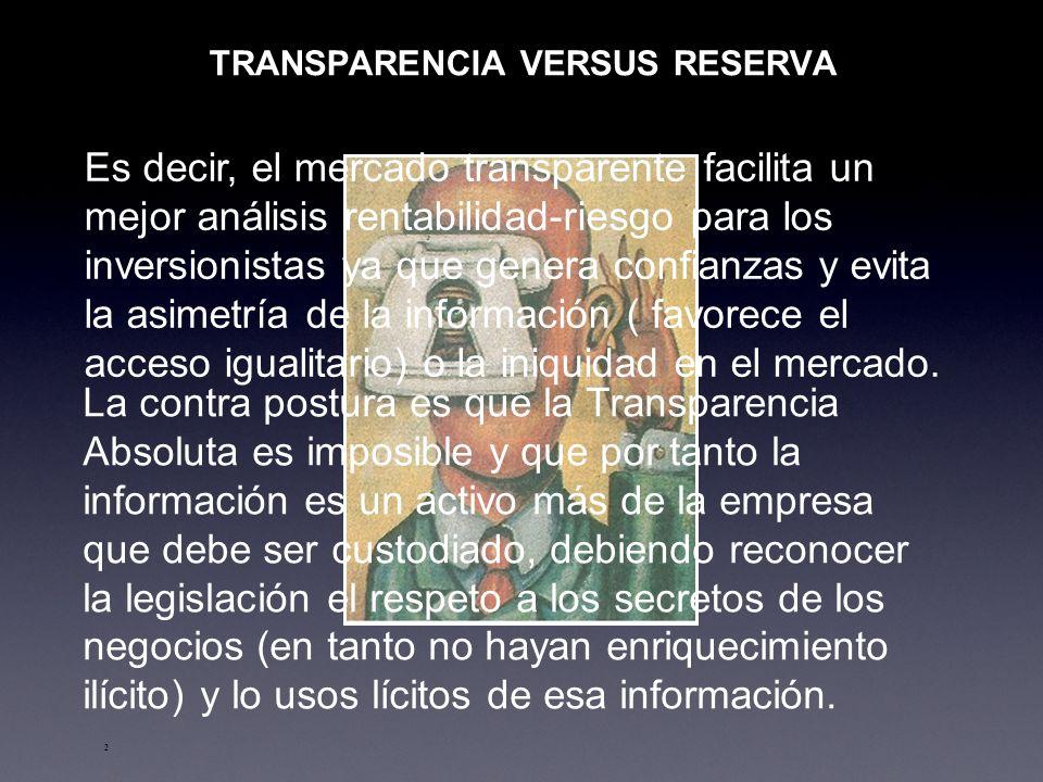 TRANSPARENCIA VERSUS RESERVA