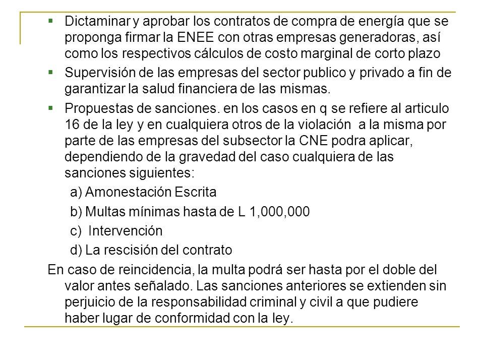 Dictaminar y aprobar los contratos de compra de energía que se proponga firmar la ENEE con otras empresas generadoras, así como los respectivos cálculos de costo marginal de corto plazo