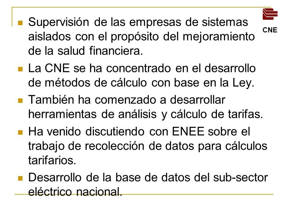 Desarrollo de la base de datos del sub-sector eléctrico nacional.