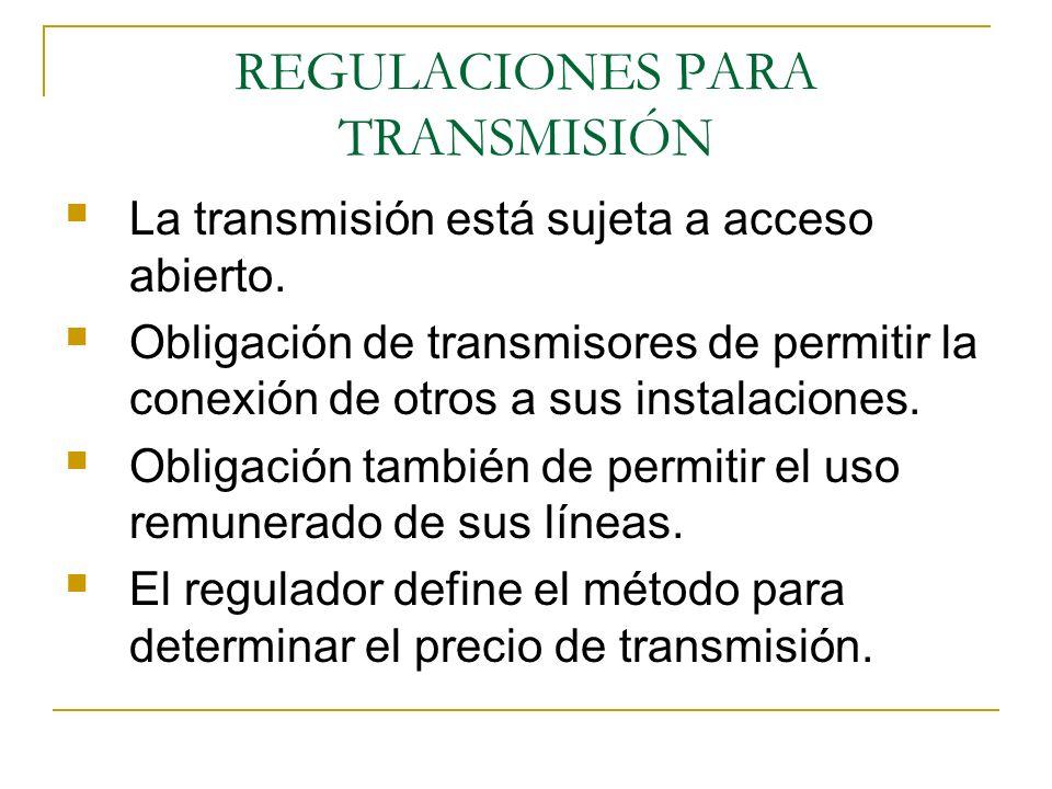 REGULACIONES PARA TRANSMISIÓN