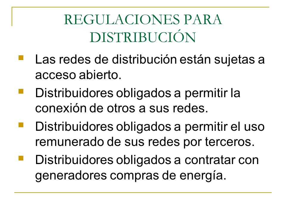 REGULACIONES PARA DISTRIBUCIÓN
