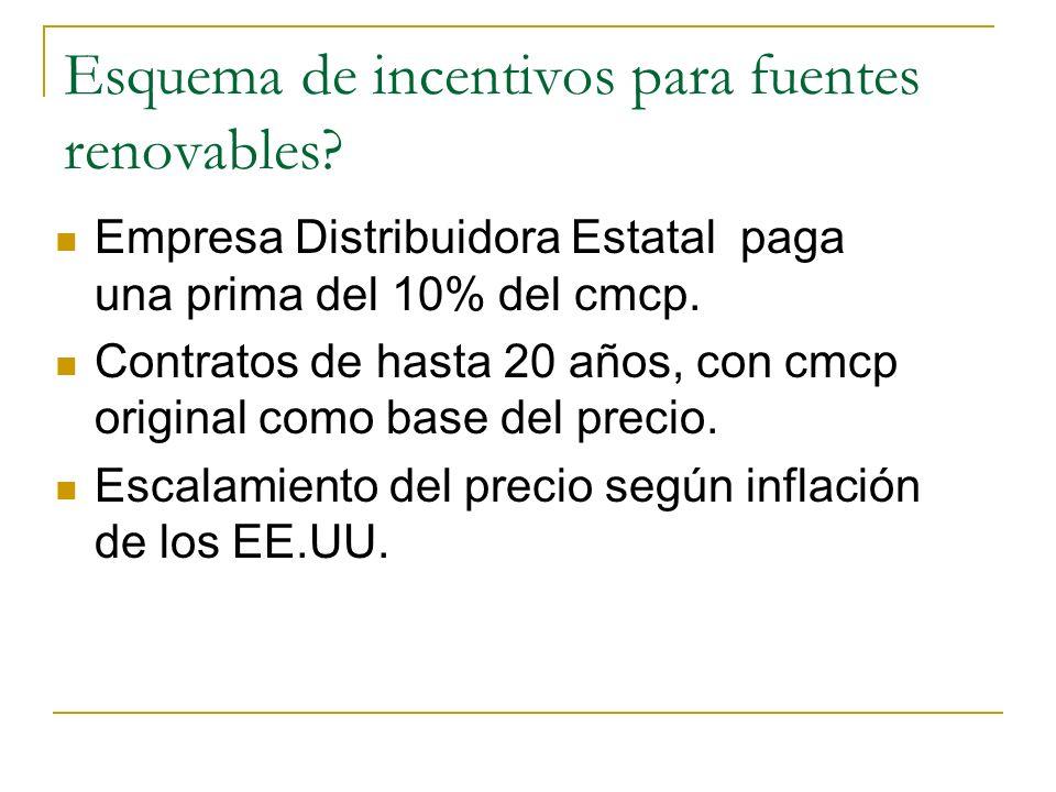 Esquema de incentivos para fuentes renovables