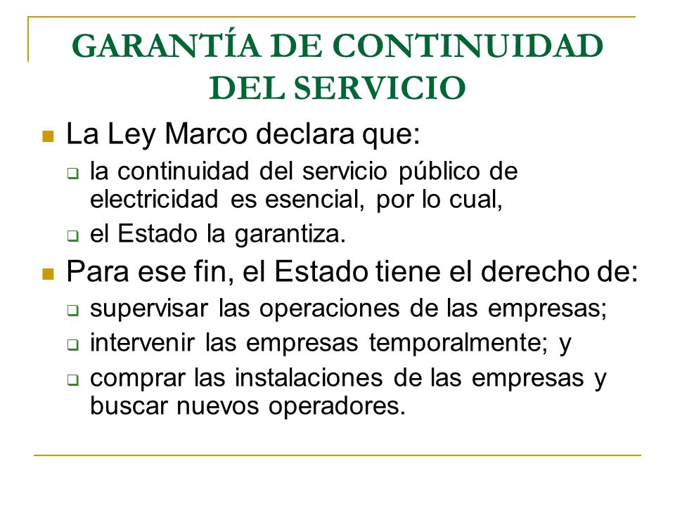 GARANTÍA DE CONTINUIDAD DEL SERVICIO