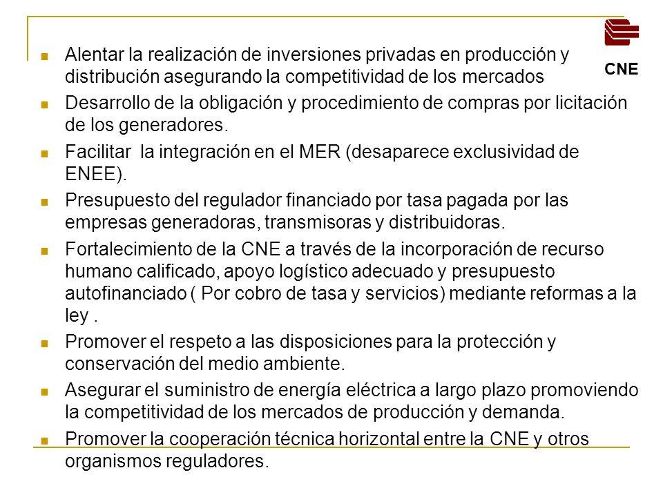Facilitar la integración en el MER (desaparece exclusividad de ENEE).