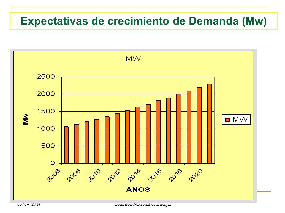 Expectativas de crecimiento de Demanda (Mw)