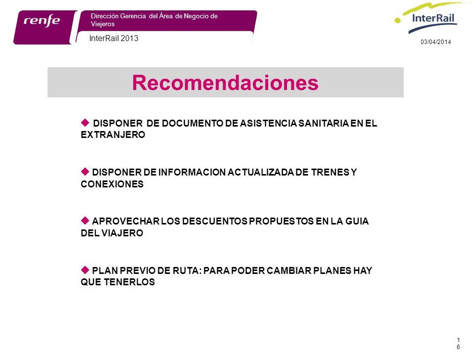 29/03/2017 Dirección Gerencia del Área de Negocio de Viejeros. InterRail 2013. 29/03/2017. Recomendaciones.