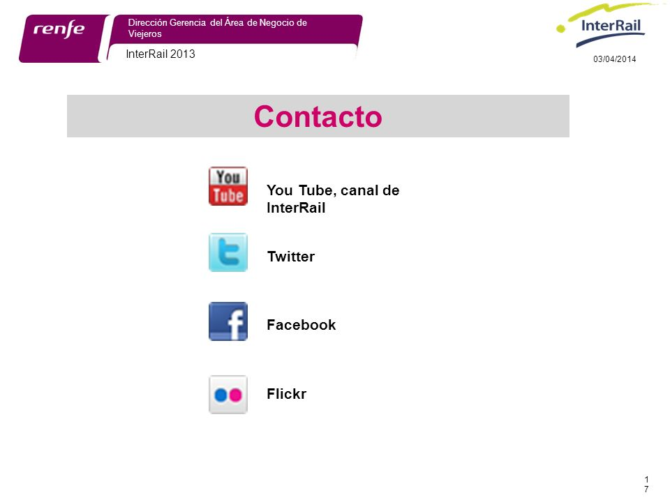 Contacto You Tube, canal de InterRail Twitter Facebook Flickr