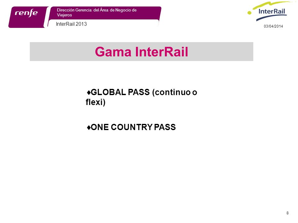 Gama InterRail GLOBAL PASS (continuo o flexi) ONE COUNTRY PASS
