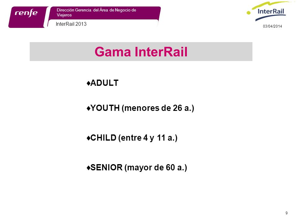 Gama InterRail ADULT YOUTH (menores de 26 a.) CHILD (entre 4 y 11 a.)