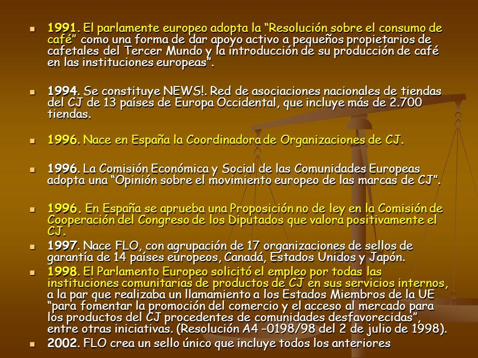 1991. El parlamente europeo adopta la Resolución sobre el consumo de café como una forma de dar apoyo activo a pequeños propietarios de cafetales del Tercer Mundo y la introducción de su producción de café en las instituciones europeas .