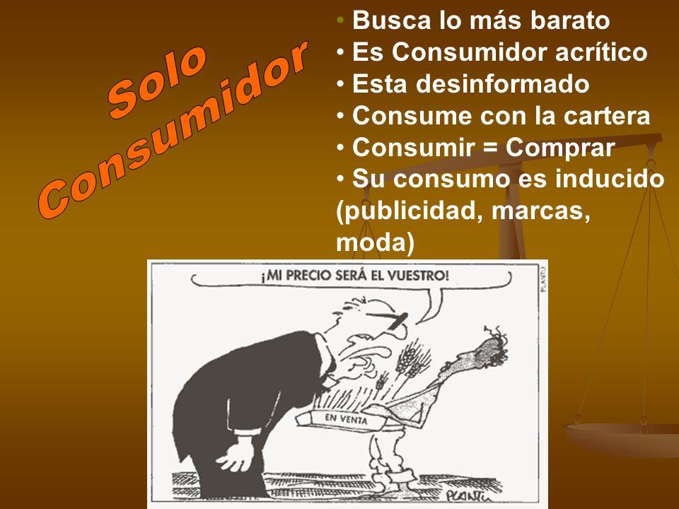 Solo Consumidor Busca lo más barato Es Consumidor acrítico