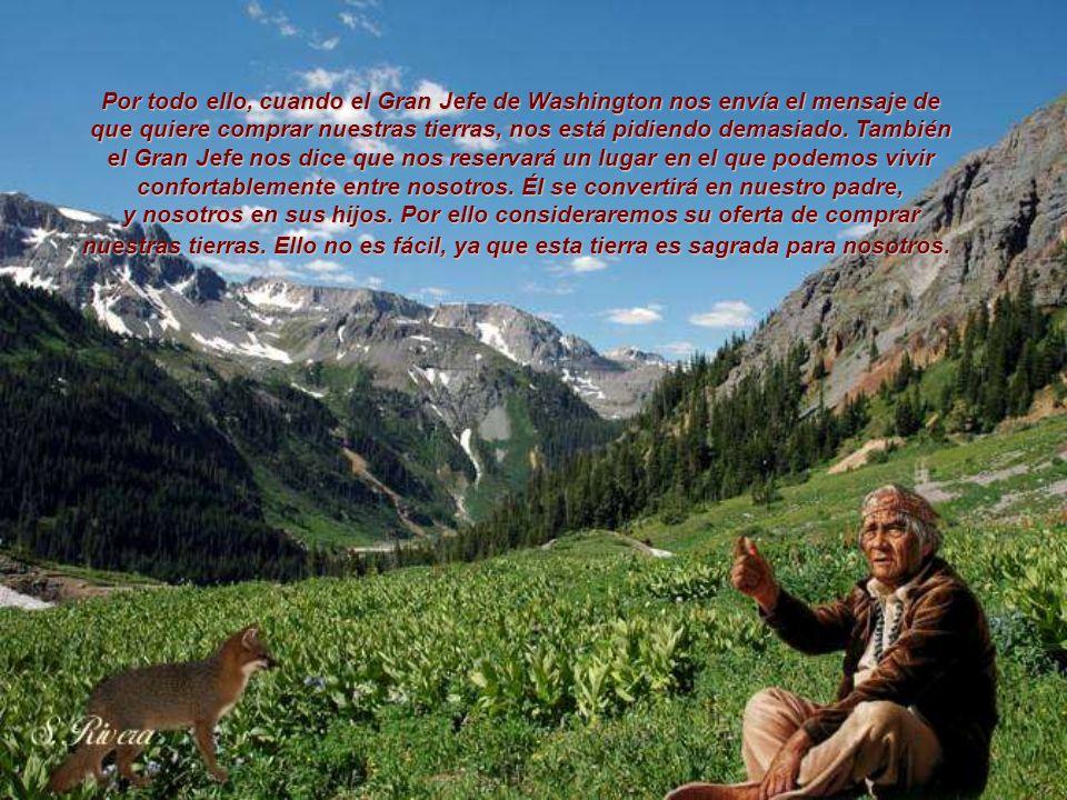 Por todo ello, cuando el Gran Jefe de Washington nos envía el mensaje de que quiere comprar nuestras tierras, nos está pidiendo demasiado. También el Gran Jefe nos dice que nos reservará un lugar en el que podemos vivir confortablemente entre nosotros. Él se convertirá en nuestro padre,