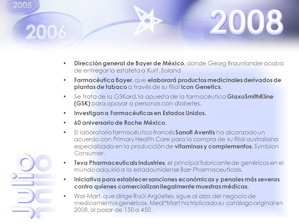 2008 Dirección general de Bayer de México, donde Georg Braunlander acaba de entregar la estafeta a Kurt. Soland.