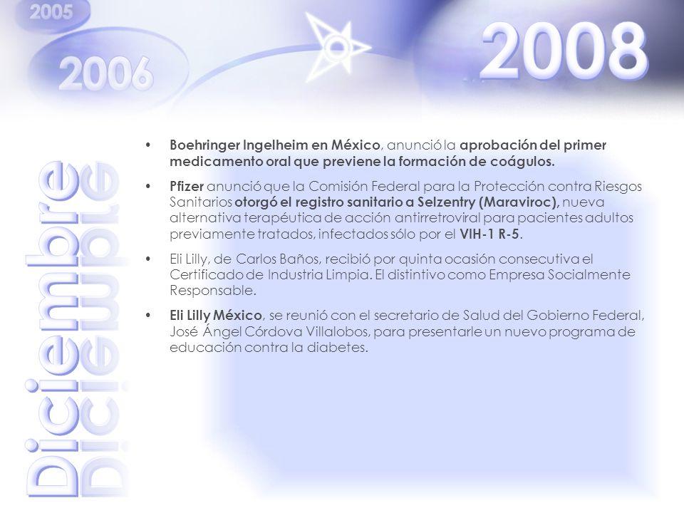2008 Boehringer Ingelheim en México, anunció la aprobación del primer medicamento oral que previene la formación de coágulos.