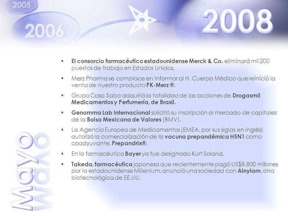 2008 El consorcio farmacéutico estadounidense Merck & Co. eliminará mil 200 puestos de trabajo en Estados Unidos.
