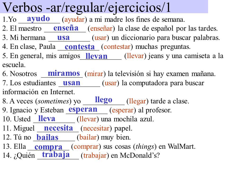 Verbos -ar/regular/ejercicios/1