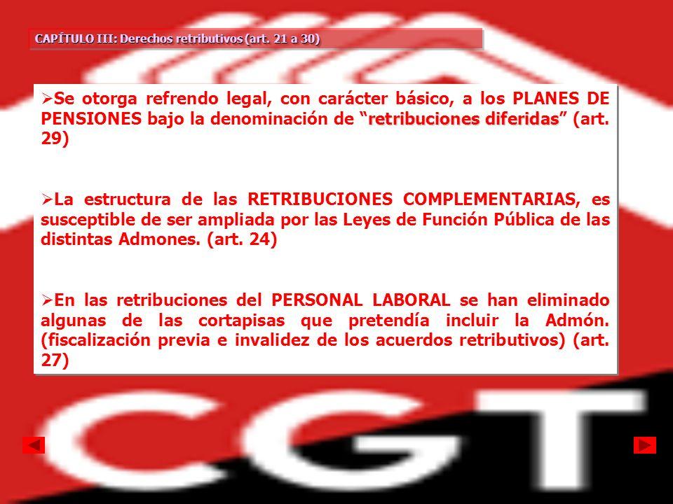 CAPÍTULO III: Derechos retributivos (art. 21 a 30)