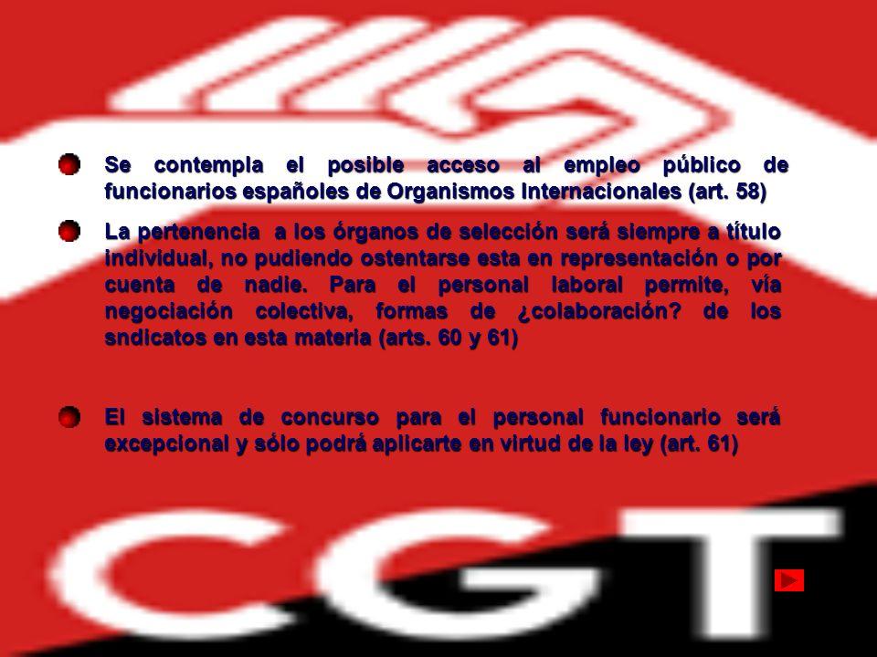 Se contempla el posible acceso al empleo público de funcionarios españoles de Organismos Internacionales (art. 58)